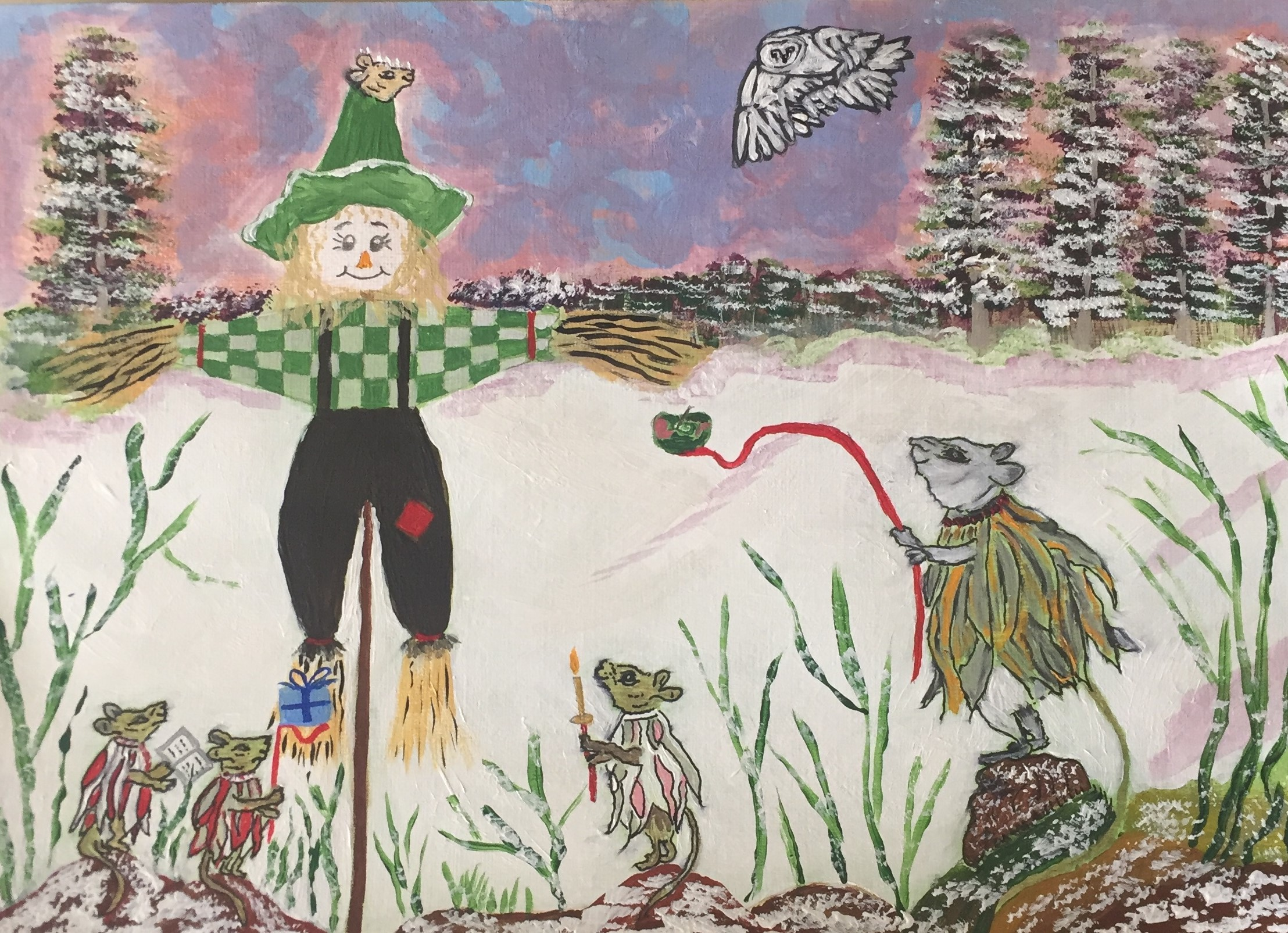 Christmas card scarecrow drawing